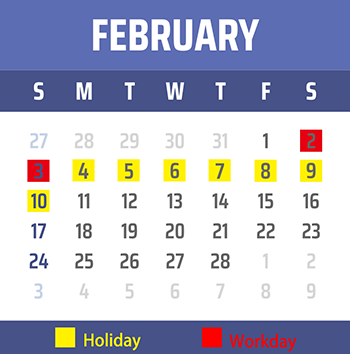 2019 Chinese New Year Holiday-february