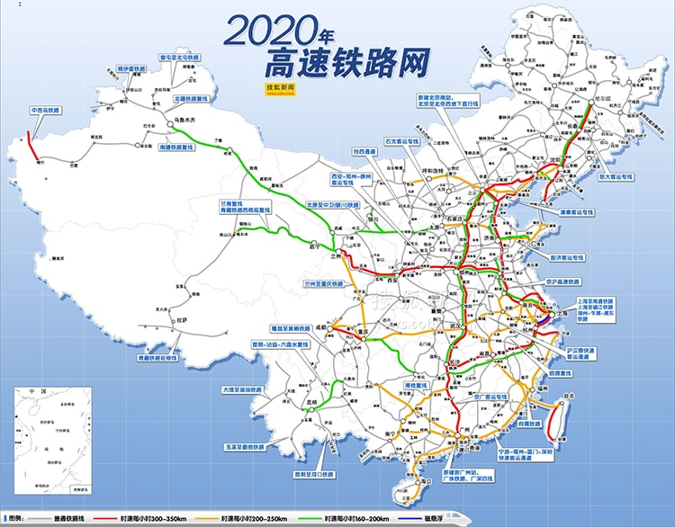 High-speed rail route map 2020